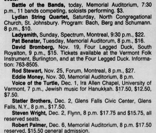 Nov 10 1988 - Concert List - Battle of the Bands, today, Memorial...