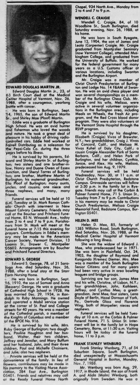 Obituary:  Edward S. George  -  The Burlington Free Press (VT), Nov. 28, 1988 (Mon) - EDWARD DOUGLAS MARTIN JR. Edward Douglas Martin...