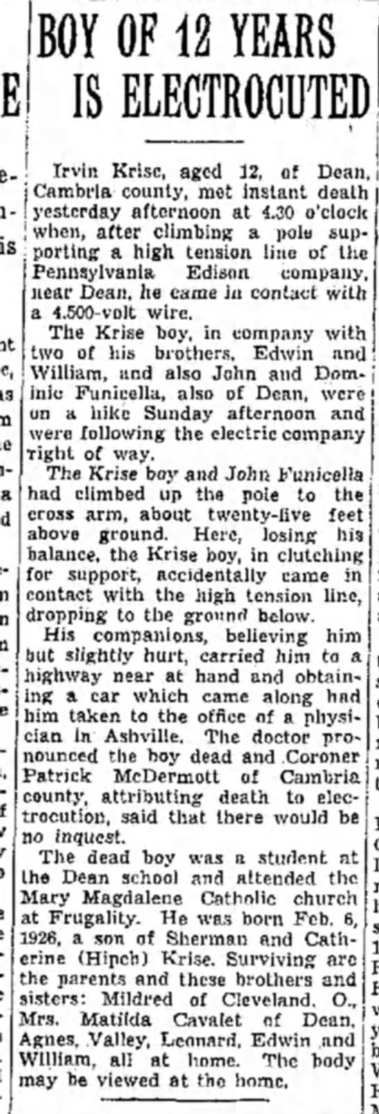 Irvin Krise, Dean, 10 Oct 1938