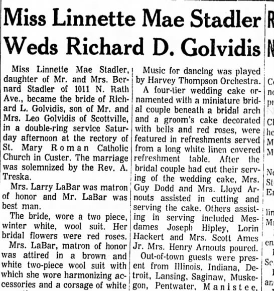 Linette Golvidis wedding announcement Feb 7, 1966 Ludington Daily NEws - Miss Linnette Mae Stadler Weds Richard D....