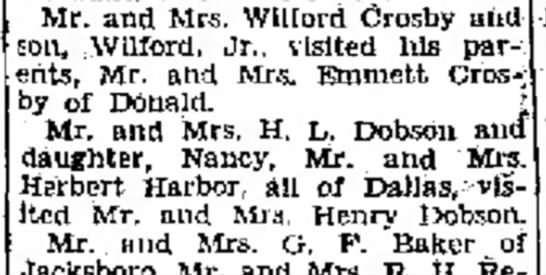 Crosby 8/17/1947 - this figures Mr. and Mrs. Wllford Crosby son,...