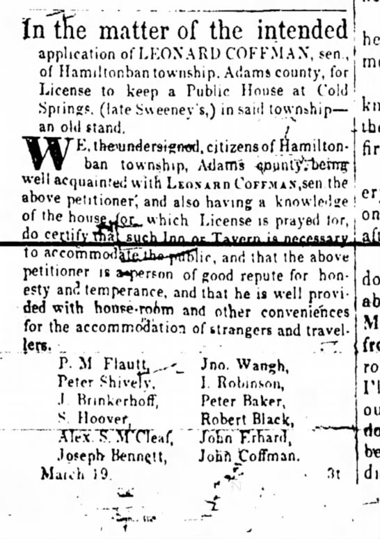 Adams Sentinel 26 March 1849 Peter Baker favors public house petition - lers. P. M. Flautt, Jno. Wangh, Peter Shively,...