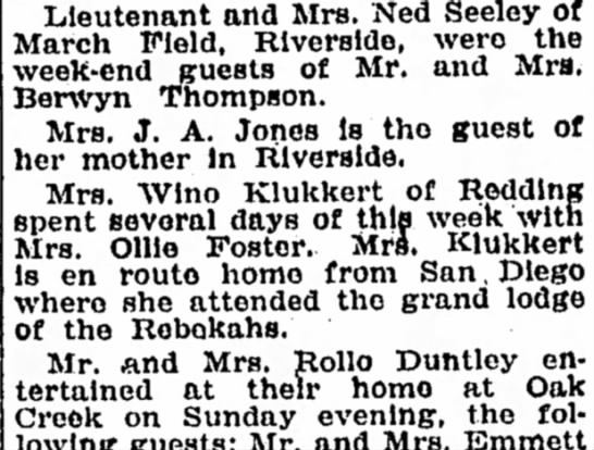 Winona K. Bakersfield Californian 22 May 1936, page 6 - Lieutenant and Mrs. Ned Seeley of March Field,...