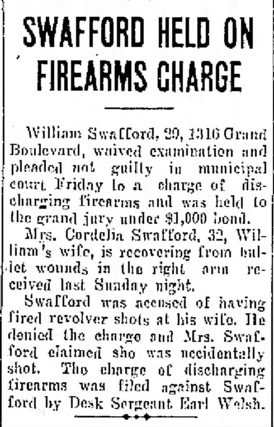 Swafford Held on Firearms Charge 4 Jan 1929 - S answered bedroom SWAFFORD HELD ON FIREARMS...