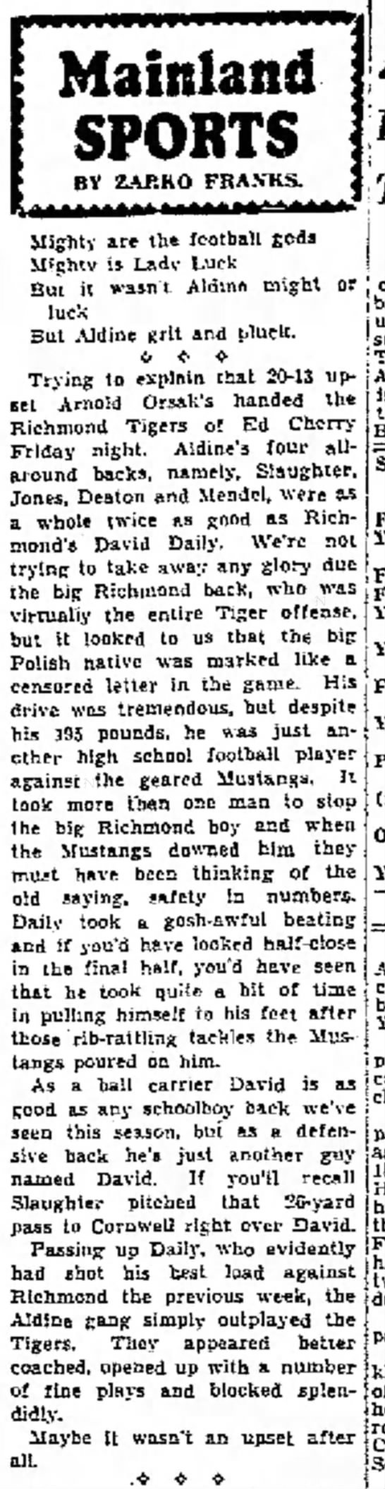 Galveston Daily News 7Dec1941 Richmond Tigers - Mainland SPORTS BY ZAP.KO FRA.VKS. Migbtr are...