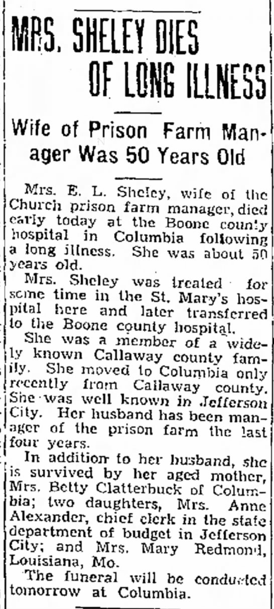 Nancy Jane (Clatterbuck) Sheley newspaper obituary - the of set than administrator the the of busi-...
