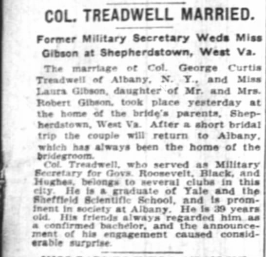 George Curtis Treadwell Wed Laura Gibson in West Virginia - COL TREADWELL MARRIED. ferwtr Military...