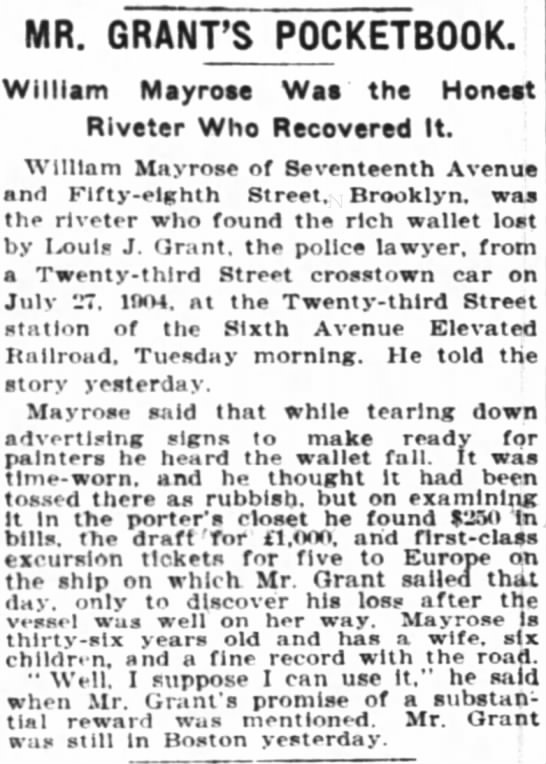 NY Times 8/11/1905 - MR. GRANT'S P0CKETB00K. William Mayrose Was the...