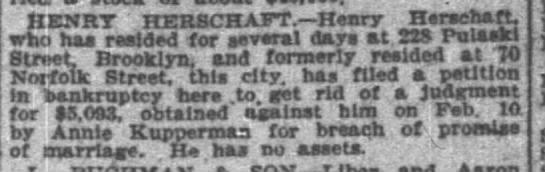 New York Times 2/28/1909, Page 28 - . XIENRT HERSCHAFT. Henry Herschaft. who haa...