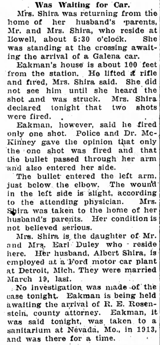 Ruby Duley Shira daughter of Mr and Mrs Earl Duley