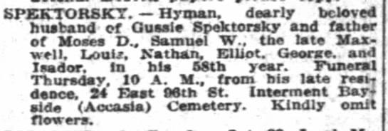 Herman Spektorsky's death - EPEKTORSKT. Hrman. dearly beloved husband of...