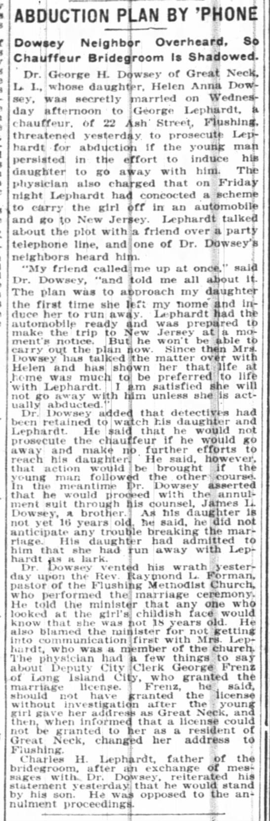 Helen Dowsey -Charles Lephardt - , ABDUCTION PLAN BY 'PHONE Oowsev Nelahbar...