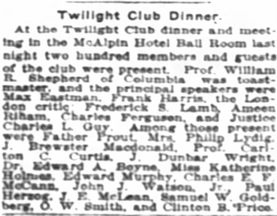 The New York Times (New York, New York) 11 February 1915  Page 6 - Twilight Club Dlnnar. At tka Twlllekt Oak 4 la...