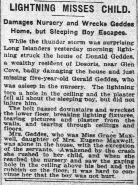 Lightening tore hole in nursery ceiling but didn't injure sleeping 5 year old Gerald Geddes - LIGHTN1NG MISSES CHILD. Damages Nursery and...