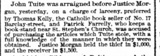 John Tuite Arrest 23 Apr 1880NYC - New York Times - John Tuite was arraigned before Justice Morgan,...