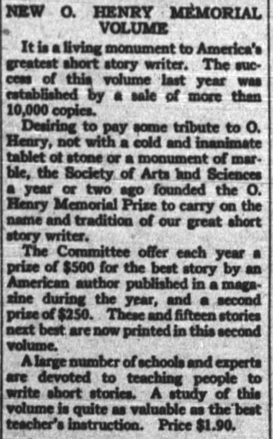 The New York Times (New York, New York) 10 July 1921  Page 46 - NSW a HENRY MEMORIAL VOLUME It U a Oving...