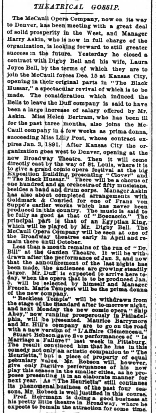 5 Dec 1890 N Y Times Traveling Company of the Black Hussar to Kansas City and West - THtATRfCAL GOSSIP. Tbe MeCaoil Opera Company,...