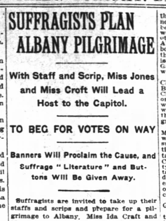 - II la SUFFRAGISTS M ALBANY PILGRIMAGE With...