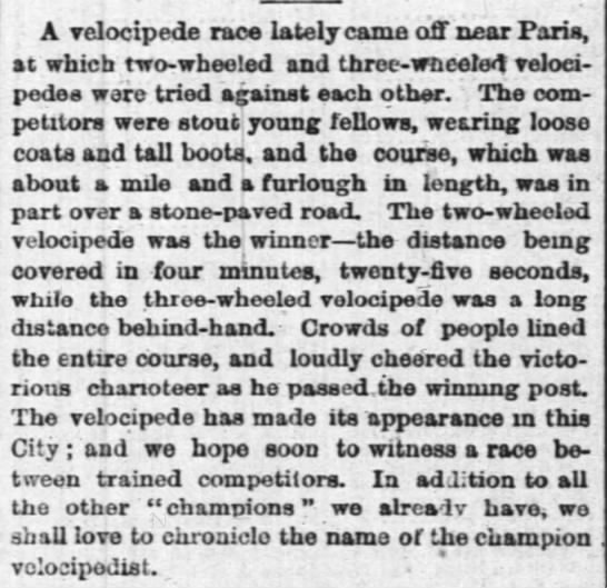 velocipede race, NY Times, Sept 8, 1868 - A velocipede race lately came off near Paris,...