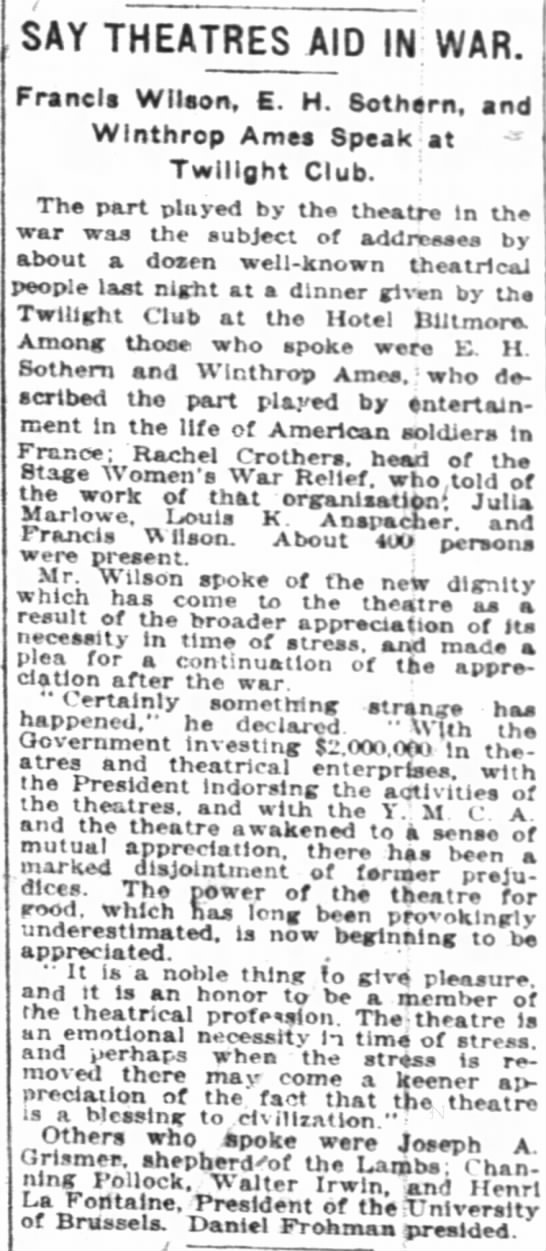The New York Times (New York, New York) 20 May 1918  Page 11 - SAY THEATRES AID IN WAR. Francis Wilson, E. H....