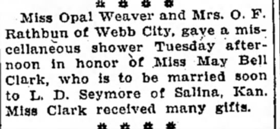 Clark, Maybelle wedding shower 2 Joplin Globe 25Jul1926