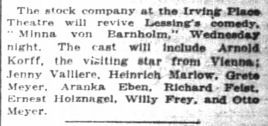 ernest holznagel 1916 NY actor - The s'ock company at th Irving' Tlao Theatre...