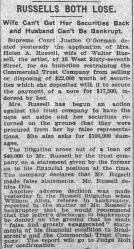 The New York Times (New York, New York) 6 March 1909  Page 5 - RUSSELLS BOTH LOSE Wife Can't Get Her...