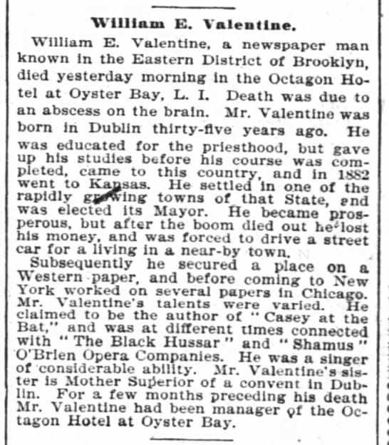 New York Times obit of William E. Valentine 29 July 1897 - William E. Valentine. William E. Valentine, a...