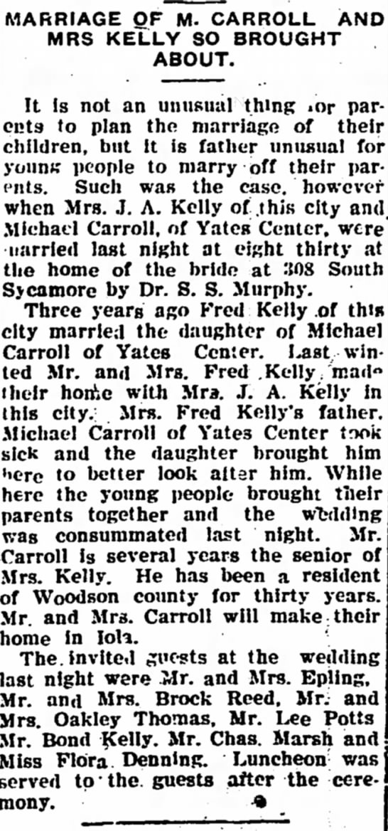 Mrs. Oakley Thomas - MARRIAGE OF M. CARROLL AND MRS KELLY SO BROUGHT...