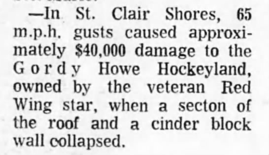 Winds damage Gordie Howe Hockeyland - In St. Clair Shores, 65 m.p.h. gusts caused...