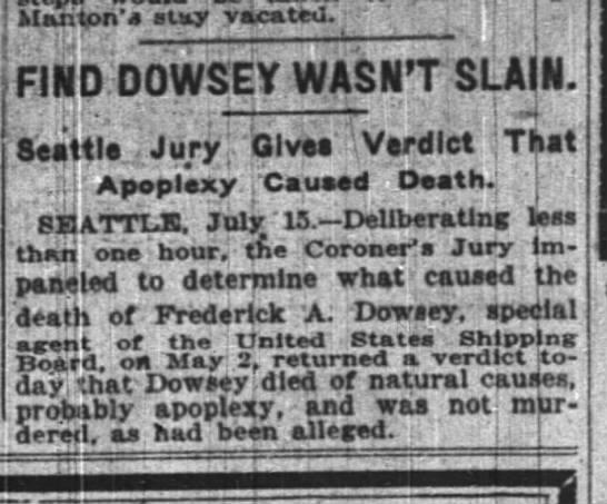 Frederick Dowsey - 1 - - B Man ton' slay vacated. ;h j liFlfaD DOWSEY...