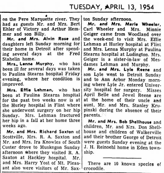 Lehman - TUESDAY, APRIL 13, 1954 on the Pere Marquette...