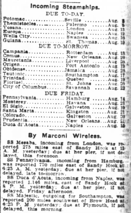 New York Times24 August 1910page 16 - Incoming SteamshlpB. DUE TO-DA TO-DA TO-DA...