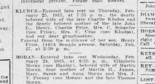 Kludas Obit 1915 - girl, the and Interment private. Please KLUDUS...