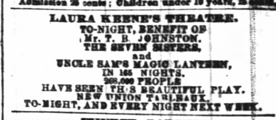 Benefit of TB Johnston NYT 11 May 1861 p 7 6  - LAURA KBBNBS THRATJCX. $ TO-NIGHT, TO-NIGHT,...