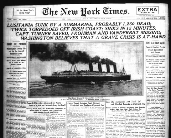Lusitania in the New York Times - EXTRA 5:30 A. IV1. All the Hews That's Fit to...