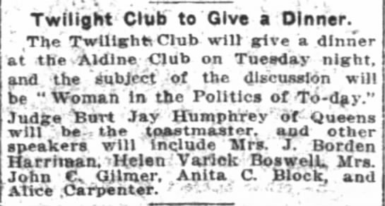 """The New York Times (New York, New York) 29 September 1912  Page 15 - ,-"""" ,-"""" """" ' l . t Twilight Club to Give a..."""