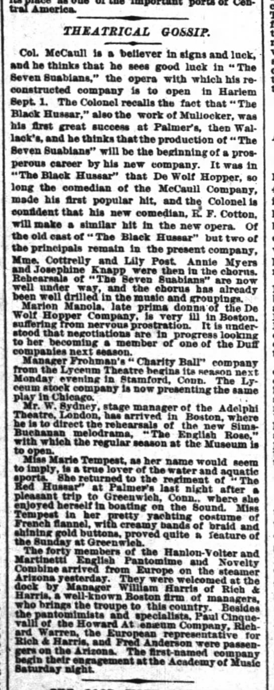 "Black Hussar and ""DeWolf Hopper Opera Company"" 19 Aug 1890 in gossip column NY Times - piece Important port of Central Central..."