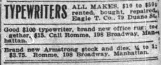 7 Dec 1909 NY Times Classified - TYPEWRITERS Good 1100 typewriter, brand new...