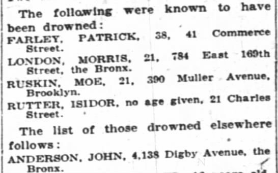 Drowned - John Andeson, 4138 Digby Avenue, the Bronx - The following were known to have been drowned :...
