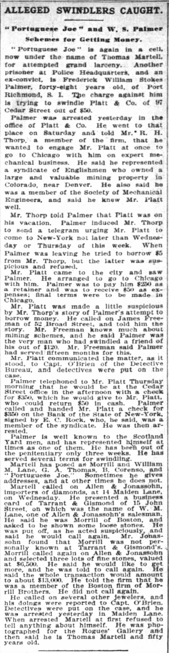 "The New York Times 04 Sep 1896 Palmer - ALLEGED swindlers caught; M Portaarnese Jae""..."