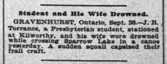 Sparrow Lake News - Stadeat and His Wife Drowaed. ORAVENHURST....