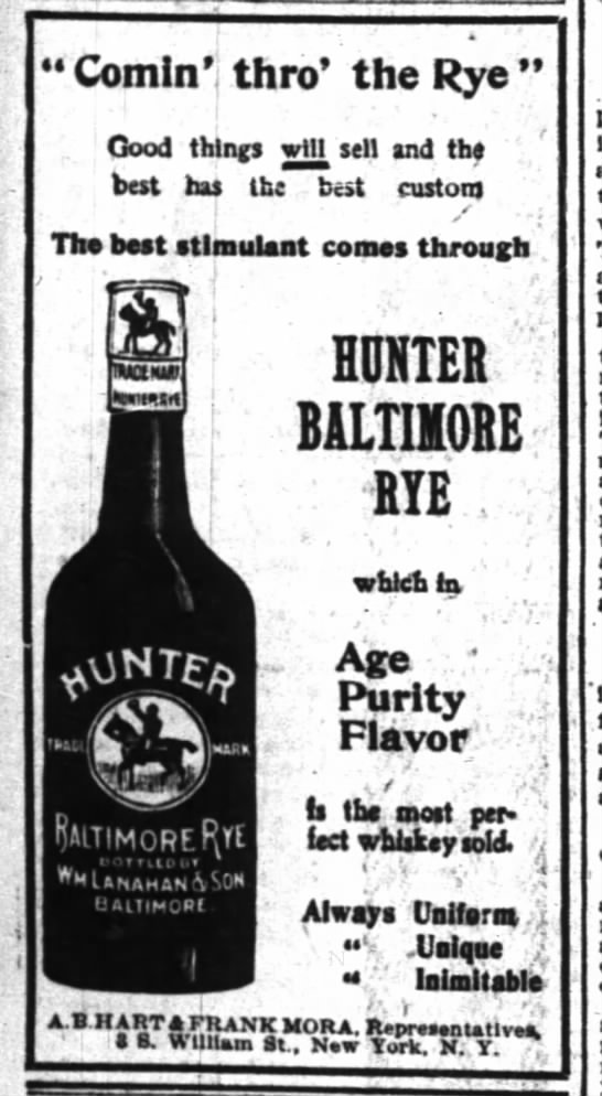 Hunter Baltimore Rye, NYT June 8, 1900 http://www.newspapers.com/image/#138|20482627 - Comln'j thro' the Rye ! ' ' ' . Good things win...