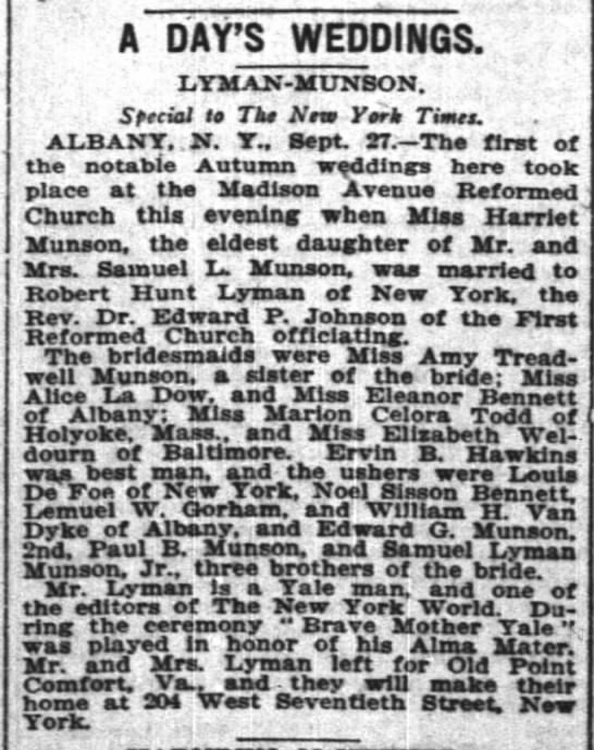 Amy Treadwell Munson - A PAY'S WEDDINGS. LYMAN-MUNSON. Special to Tko...
