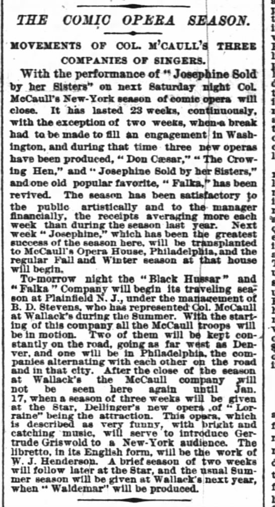 McCaull's 3 Companies traveling 1886 NY Times 3 Oct 1886 - THE C0MI0 0PEEA SEASON. MOVEMENTS OF COL....