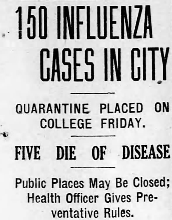 Lansing State Journal: 150 Influenza Cases in City