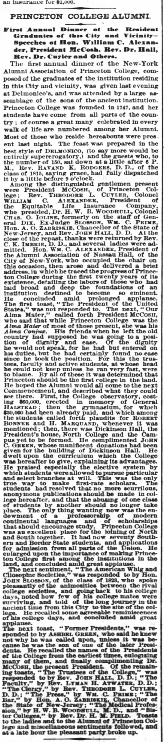 Princeton College Alumni - an insurance for ri.uoo. PRINCETON COLLEGE...