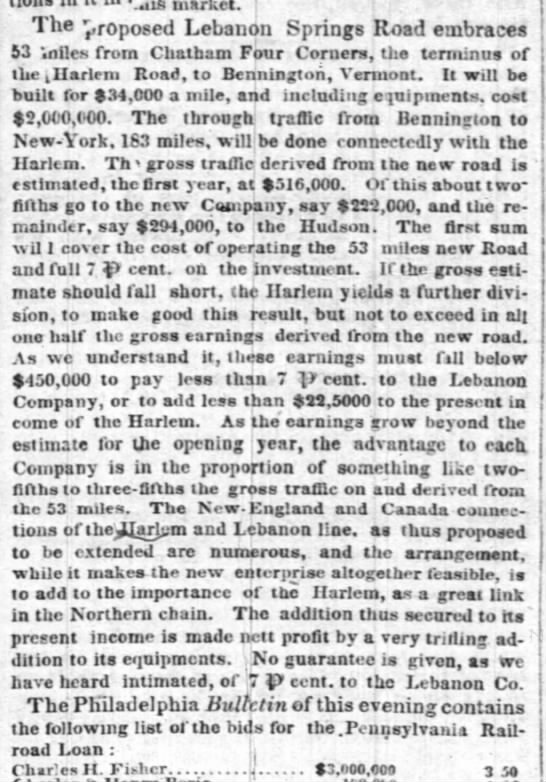 Lebanon Railroad 1852 - n,arVeU j The proposed Lebanon Springs Road...