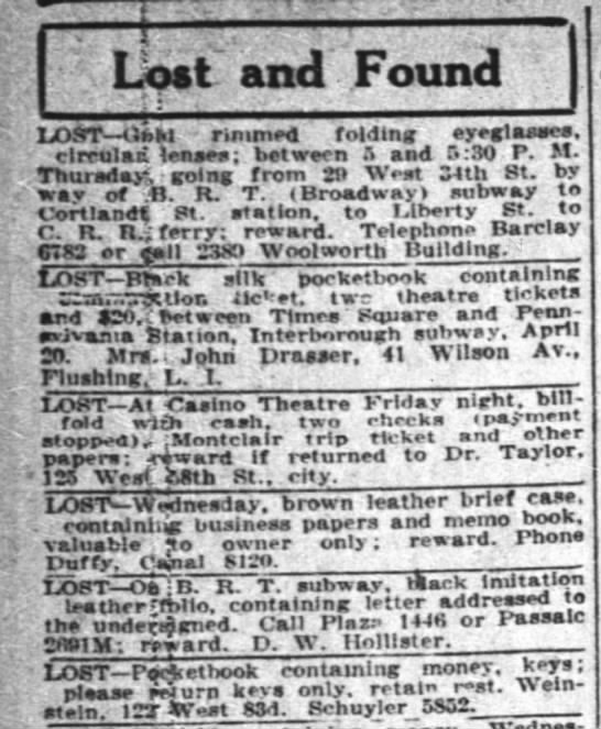 DRASSER, MRS. JOHN LOST POCKETBOOK (NYT 04-22-22)