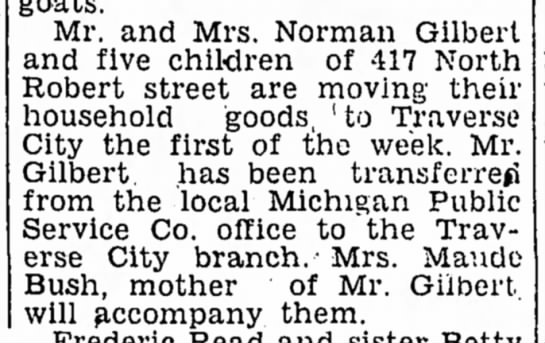 - Mr. and Mrs. Norman Gilbert and five children...
